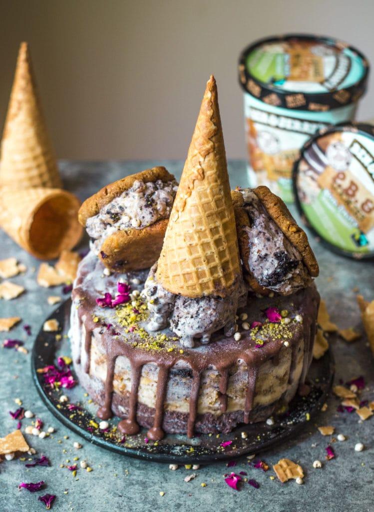 Ultimate Chocolate Vegan Ice Cream Cake Rainbow Nourishments