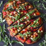 Sweet potato and satay tofu pizza