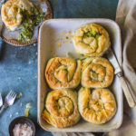 Vegan ricotta and kale filo scrolls