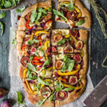 Fig and caramelised onion pizza with a buckwheat crust