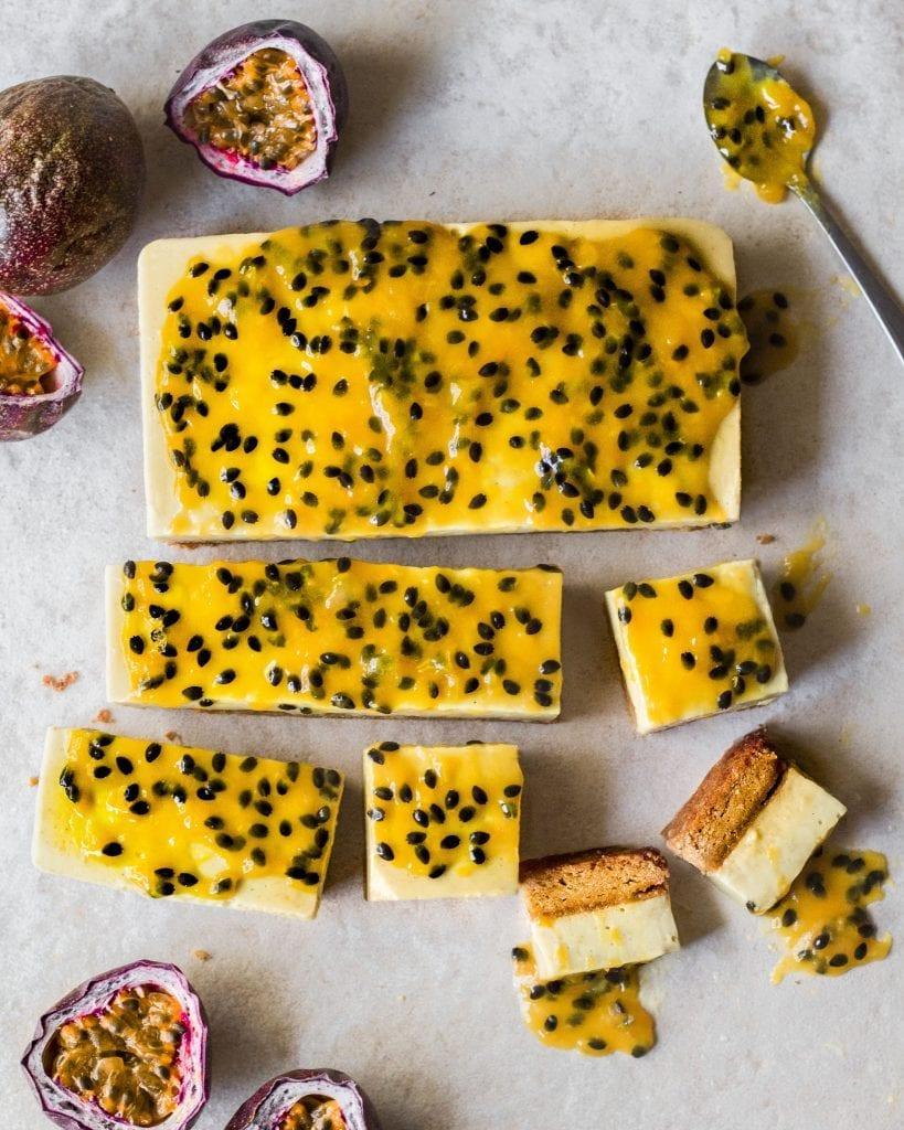 flatlay of single vegan passionfruit vanilla bars