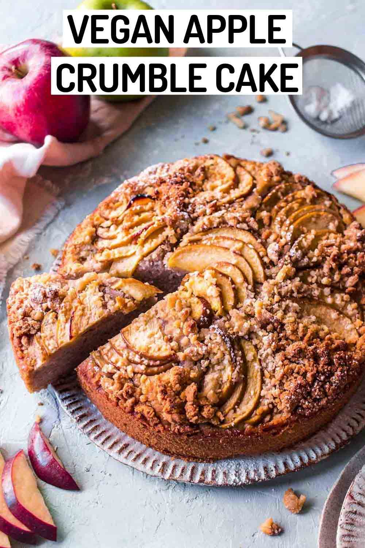 Vegan Apple Cake with Pecan Crumble