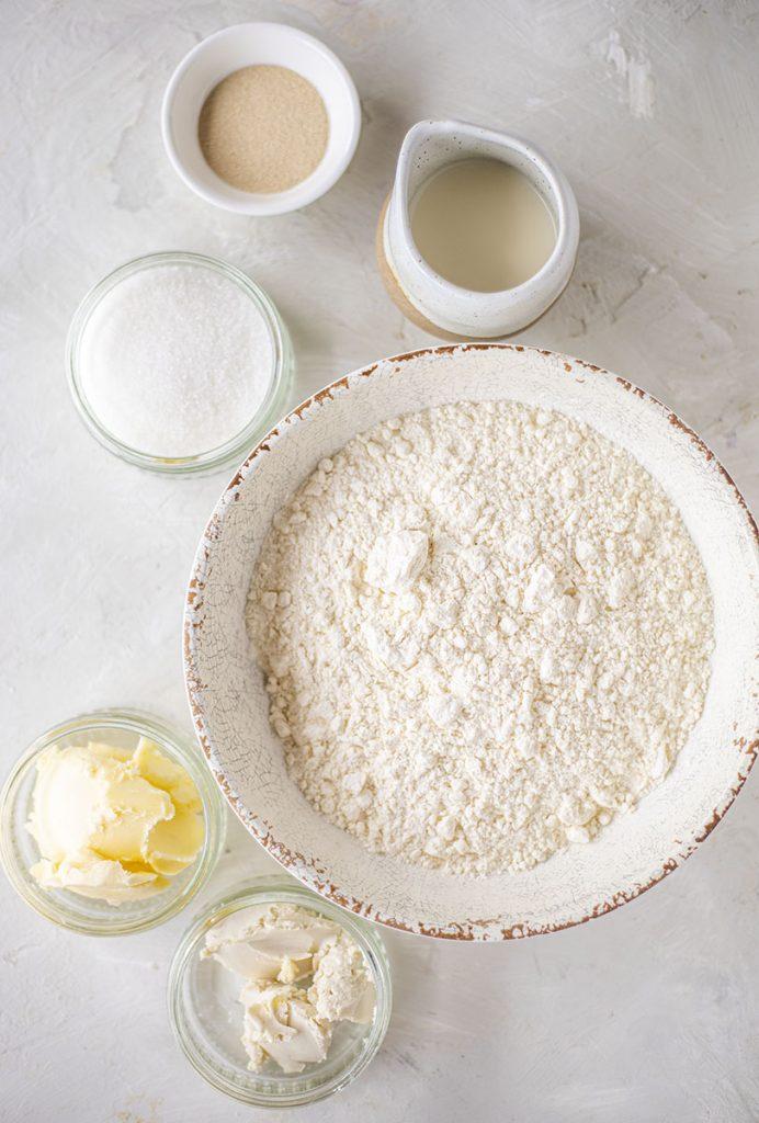 ingredients of vegan chocolate rugelach in bowls