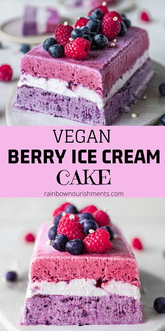 Vegan Berry Ice Cream Cake