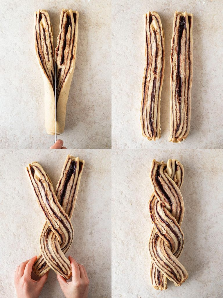 Four image collage of how to twist and braid chocolate babka.