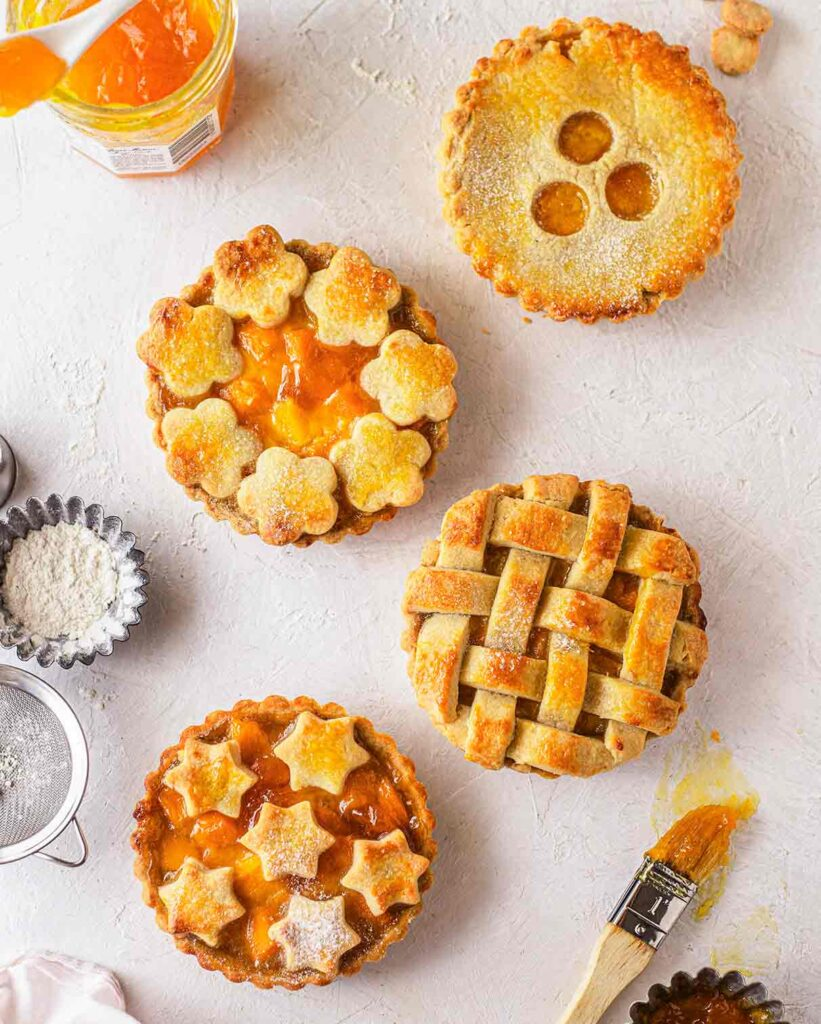 Flatlay of mango peach pies