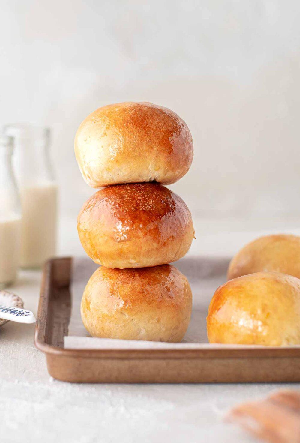 Stack of three vegan brioche buns