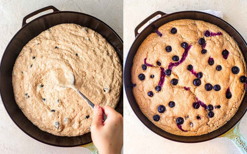 Vegan blueberry pancake before and after baking