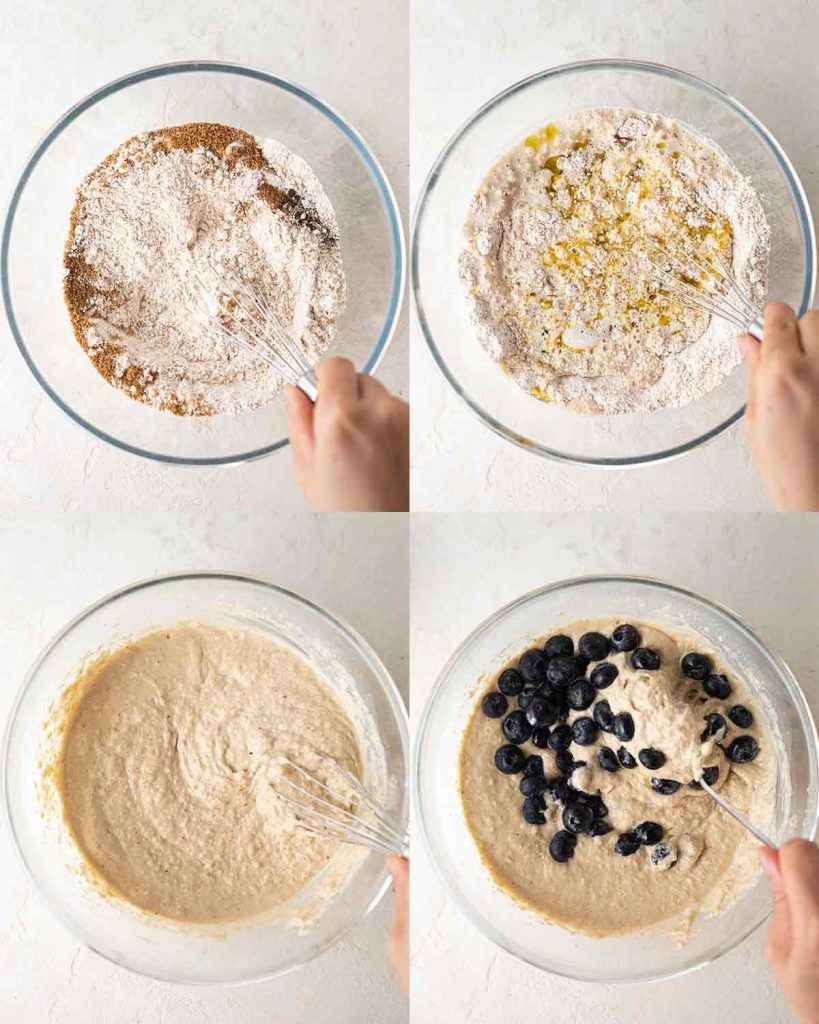 Making the simple batter for the vegan pancake