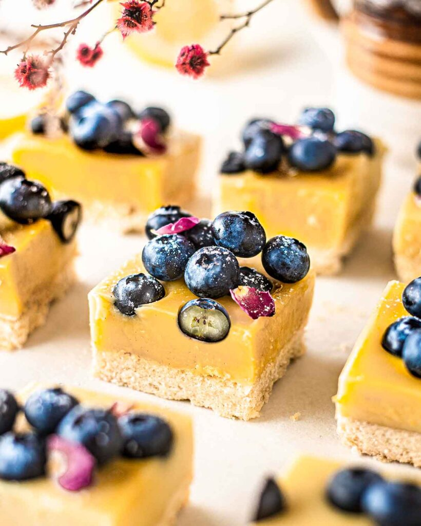 Close up of vegan blueberry lemon bars showing shiny blueberries and texture of each bar