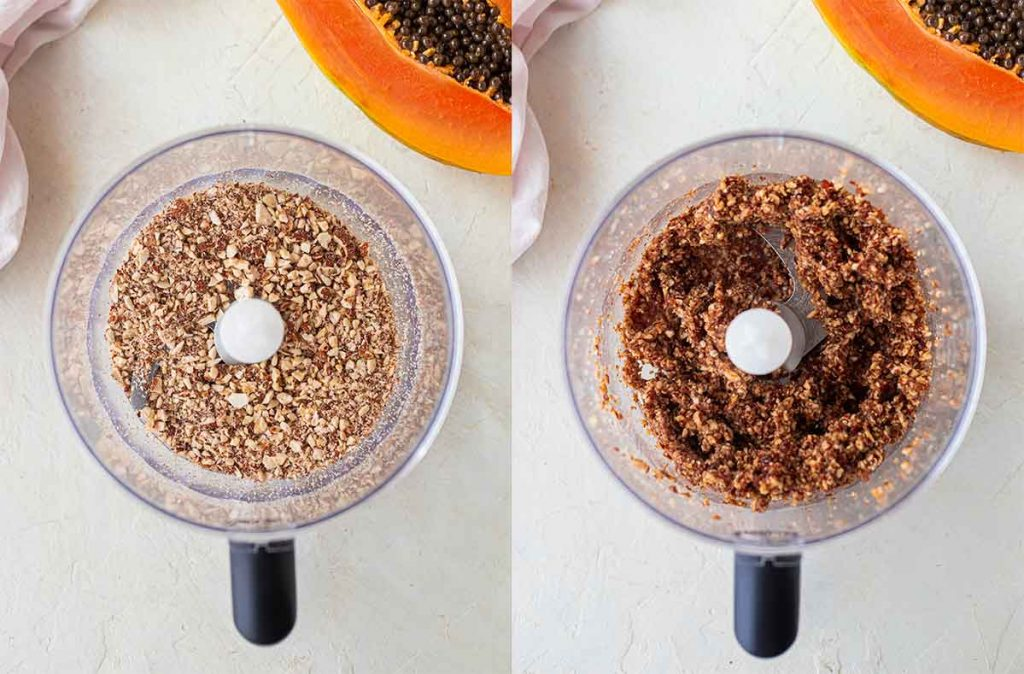 How to make a base for vegan papaya lime bars in a food processor