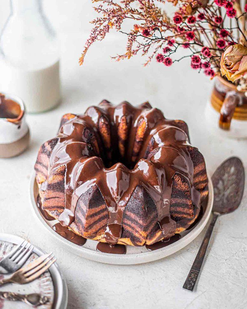 Vegan Zebra Bundt cake with chocolate ganache on top