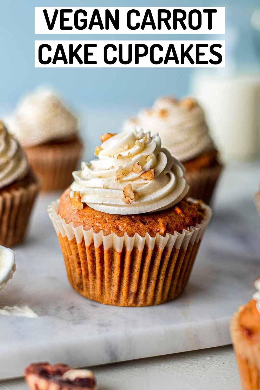 Vegan Carrot Cake Cupcakes (cream cheese frosting)