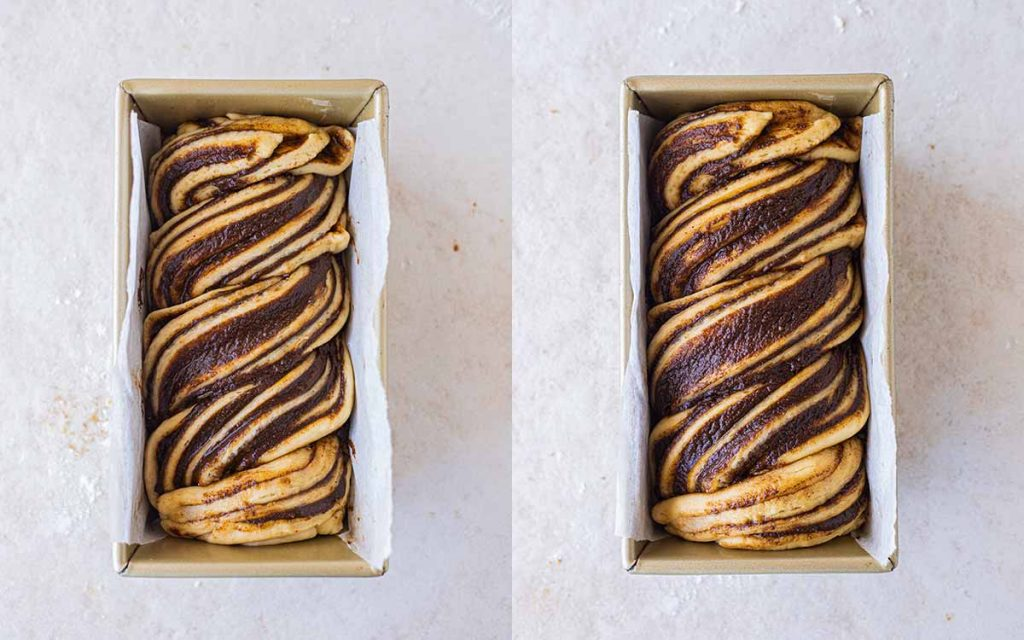 Babka in a small baking tin for its second rise.