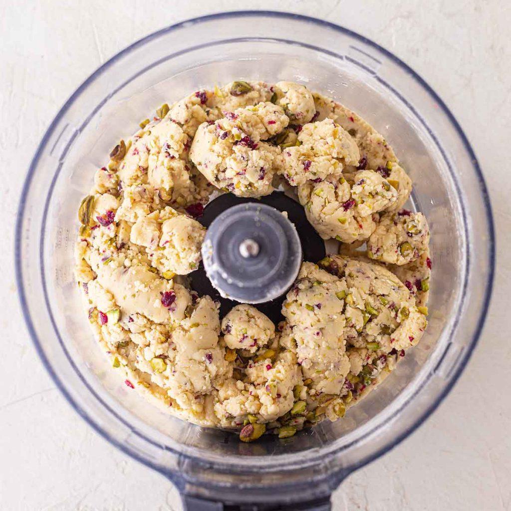 Dough of vegan christmas shortbread in food processor