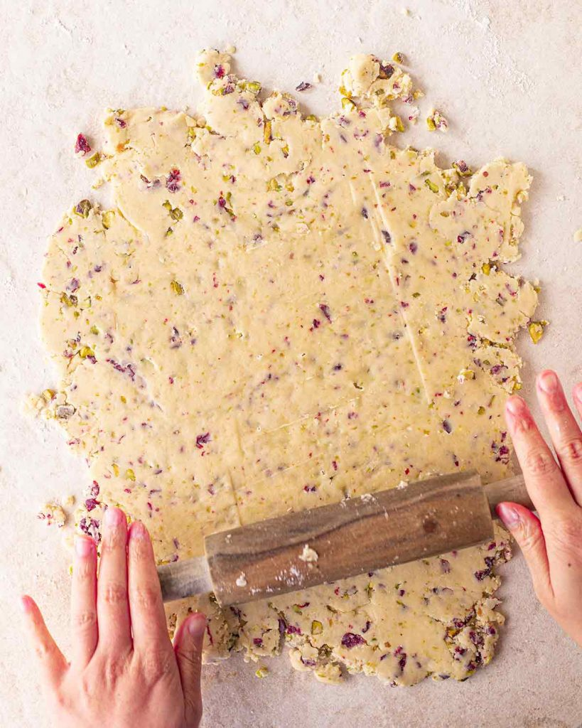 Vegan Christmas Shortbread dough rolled out with a rolling pin