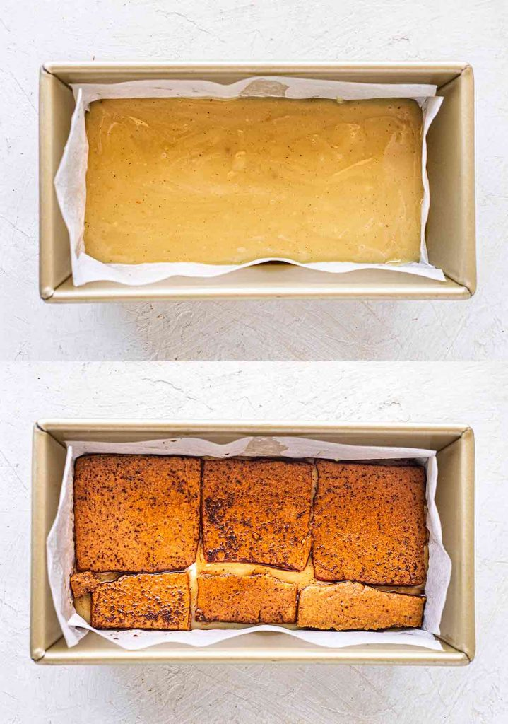 Two image collage of loaf tin: layer of custard and layer of coffee-soaked gingerbread