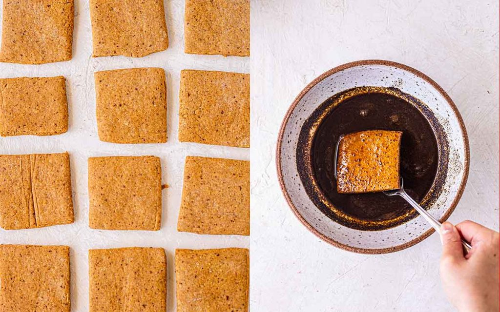 Two image collage of square gingerbread cookies and a cookie dipped in a bowl of black coffee