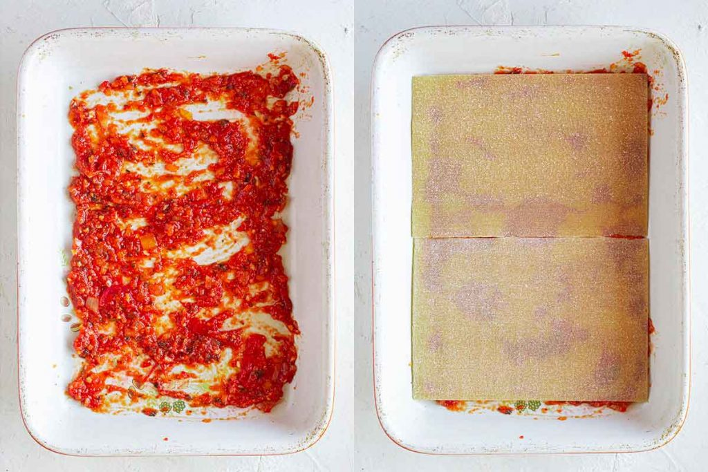 Casserole dish with tomato pasta sauce and lasagna sheets
