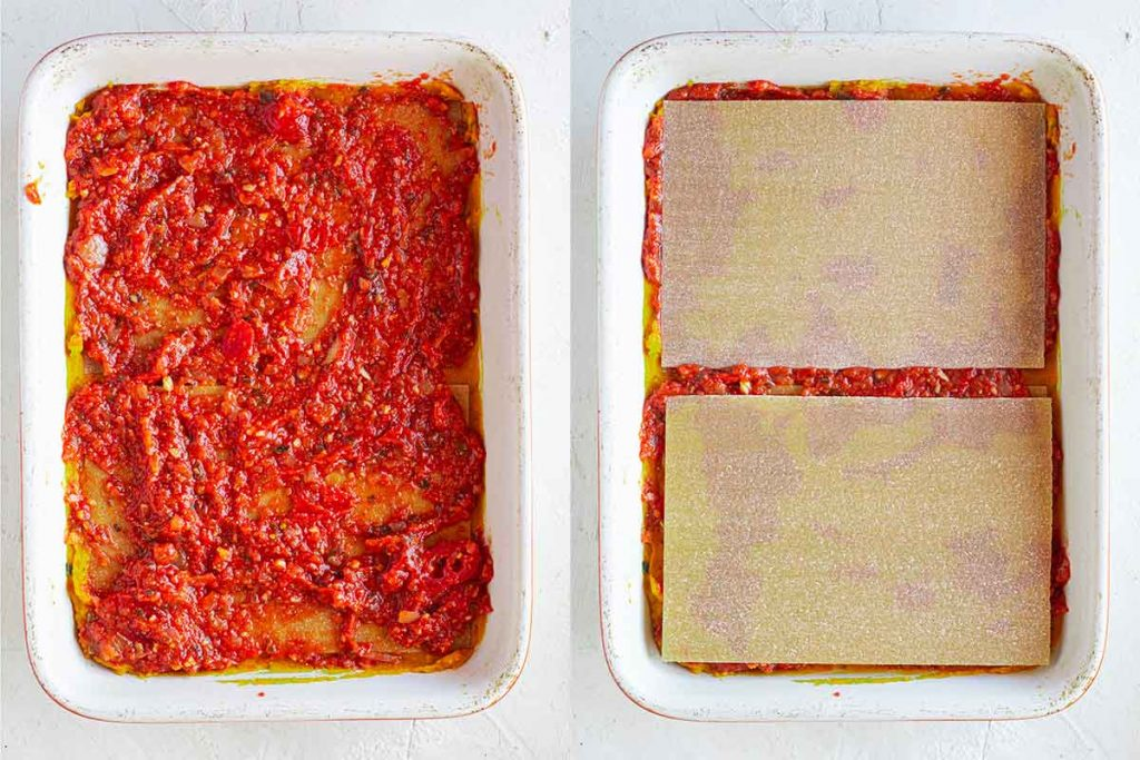 Casserole dish with tomato pasta sauce layer again and lasagna sheets