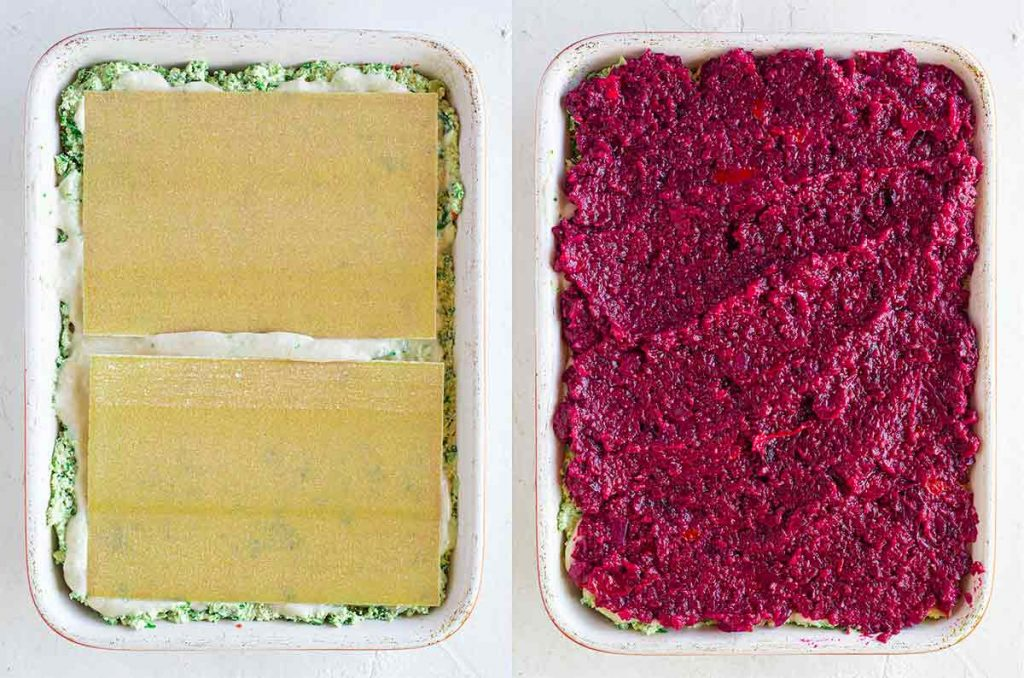 Casserole dish with lasagna sheets and beetroot