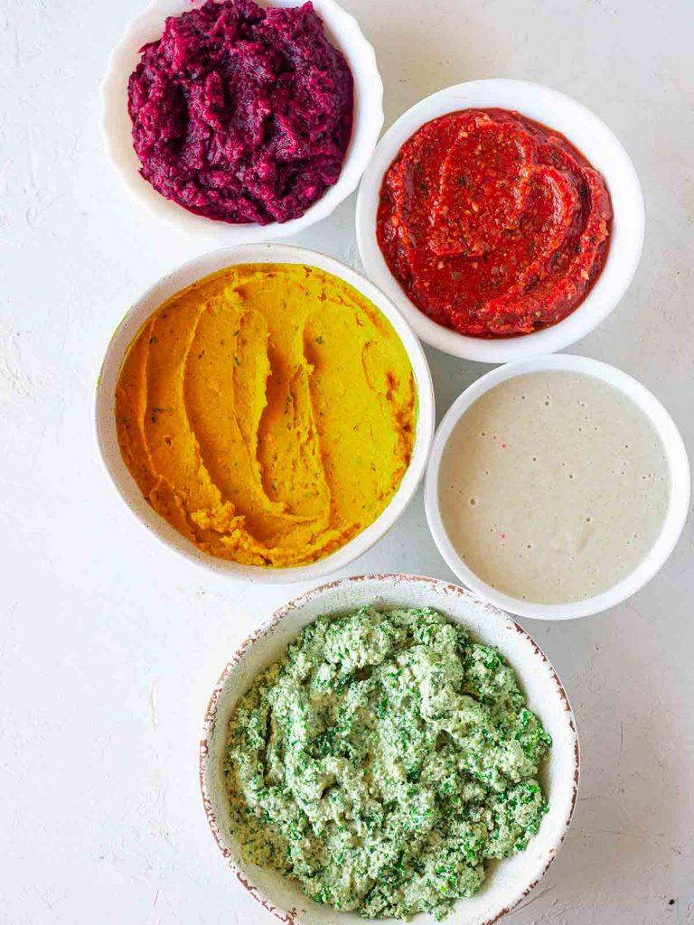 Flatlay of ingredients for the vegan rainbow lasagna