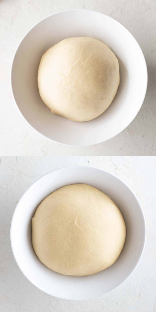 2 image collage of the first rise of the dough for the vegan cinnamon rolls