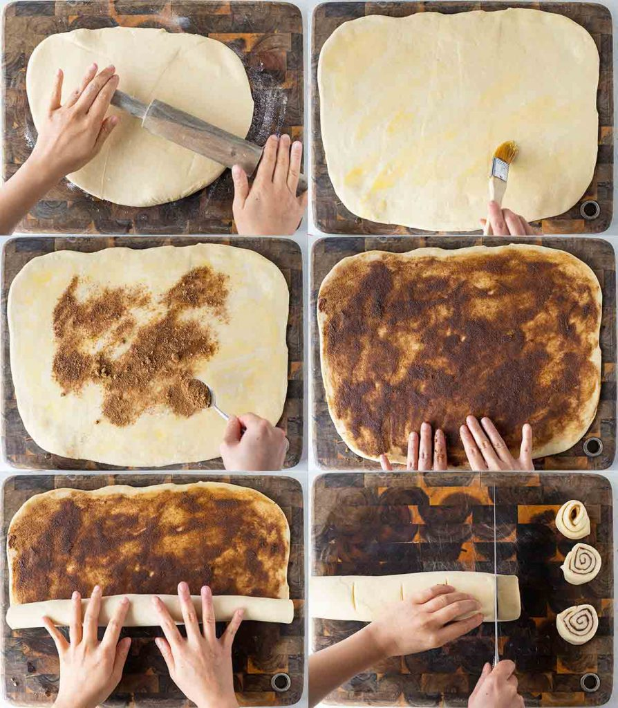 6 image collage of how to assemble the vegan sourdough cinnamon rolls.