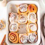 Sourdough cinnamon rolls with maple vanilla glaze (vegan)
