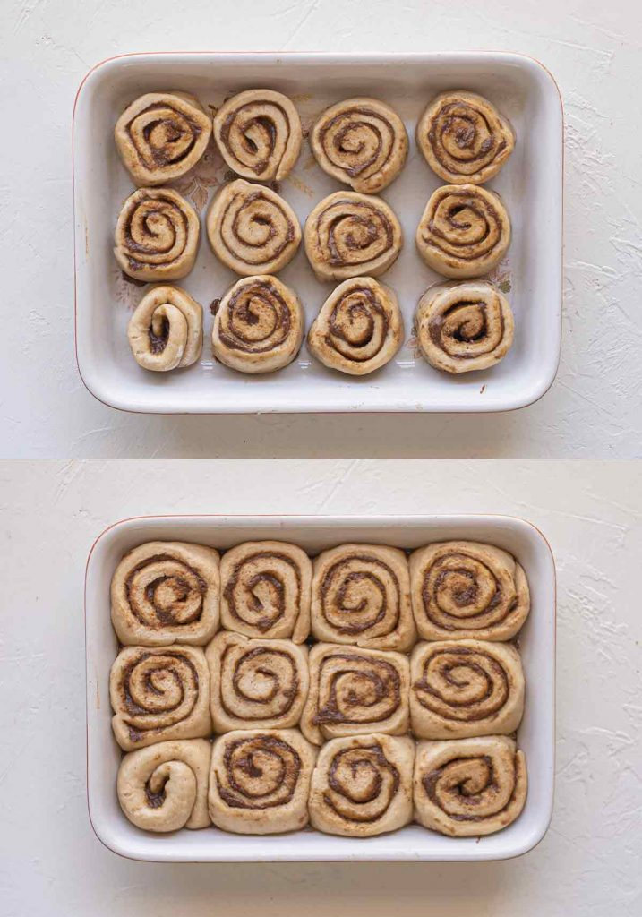 Two image collage showing second rise of vegan gingerbread scrolls in greased baking tray