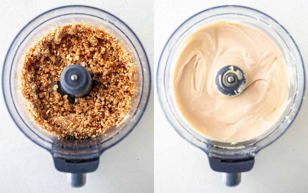 Collage of two photos showing crumbly base in food processor and creamy mango cheesecake filling in food processor