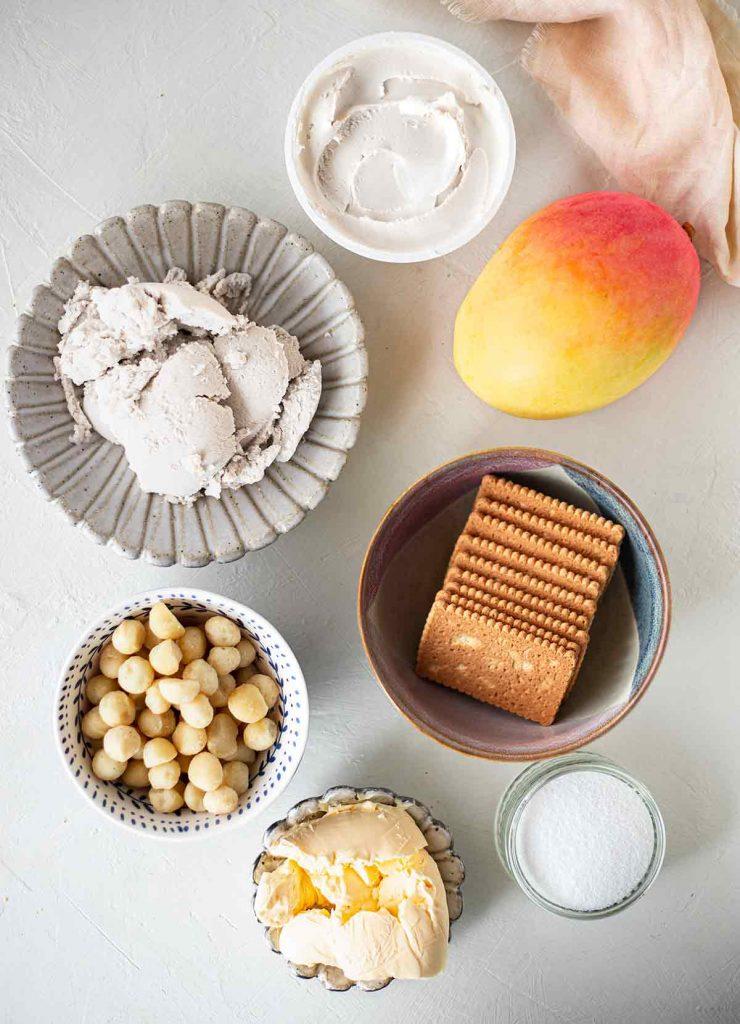 Flatlay of ingredients for vegan mango cheesecake bars