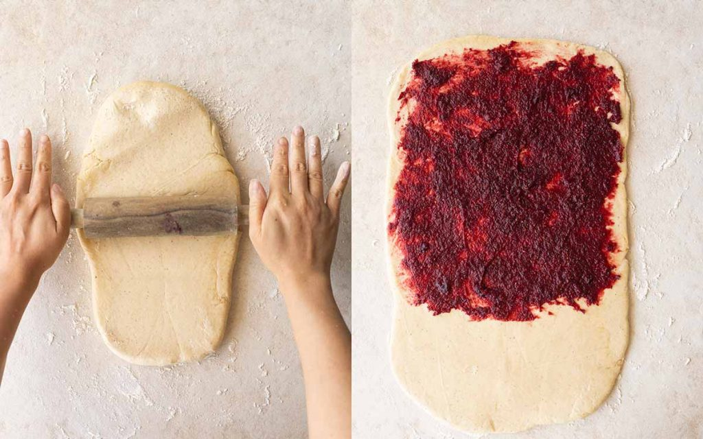 Two image collage showing brioche dough rolled out onto floured surface and red cherry jam spread on two thirds of the flattened dough