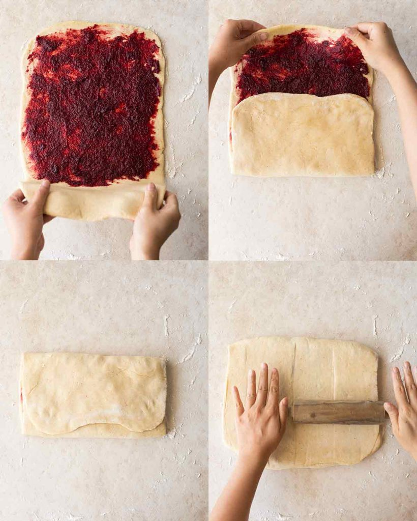 Four image collage showing the folding process for the cherry roll dough. Last image shows the dough being rolled out into a rectangle again