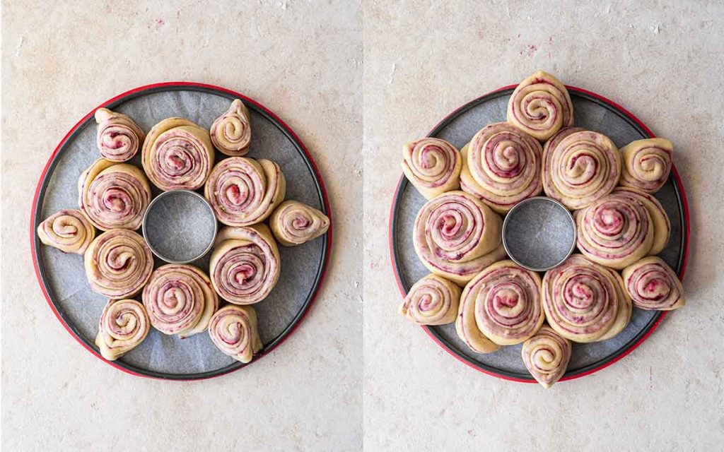 Two image collage of cherry rolls arranged in a wreath or star shape on a lined cake tray. There is a circular cookie cutter in the middle of the wreath.