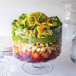 Vegan Layered Pasta Salad with Pesto