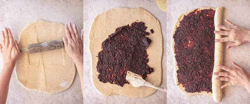 3 image collage showing process of making the dough for the Christmas wreath recipe. Includes rolling out the dough, spreading the fruit mince on the dough and rolling the dough into a log.