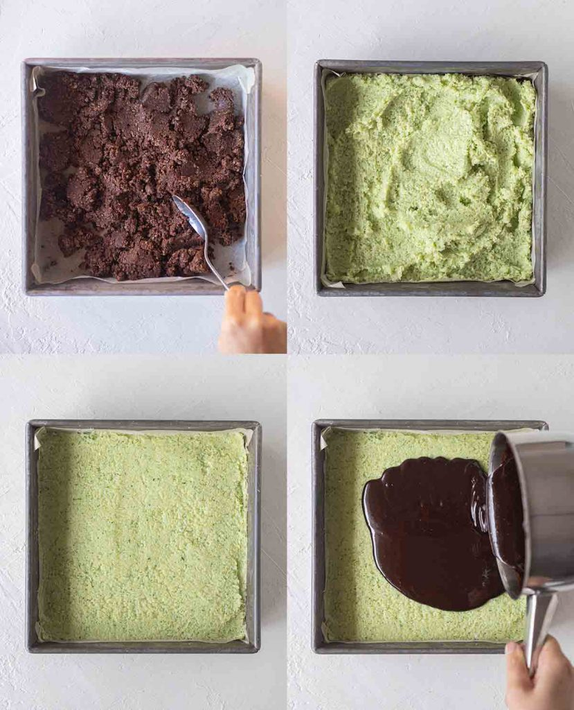Four image collage showing how to assemble the different layers of the raw vegan chocolate mint slice