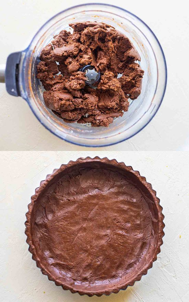 Two image collage showing chocolate base in food processor and base pressed into a tart tin