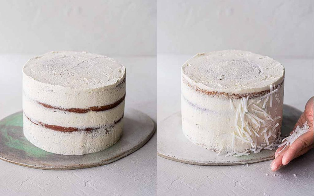 Two image collage showing 'naked' pina colada cake with a thin layer of frosting then a more frosted cake with a hand placing shredded coconut on the sides.