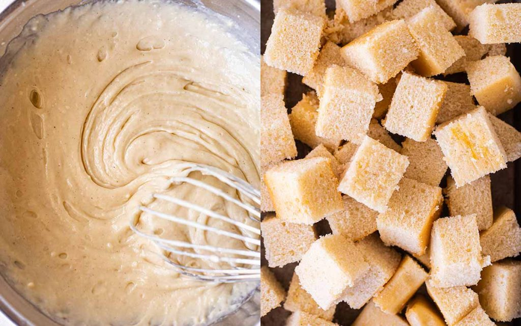 Two image collage of vanilla sponge. Image one shows thick unbaked batter. Image two shows sponge cake cut into cubes.