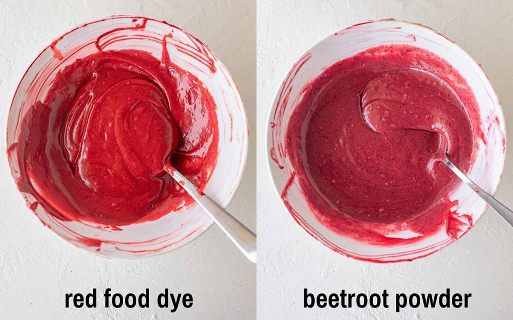 Two image collage of vegan red velvet cupcake batter in bowls. First image shows cupcake batter coloured with red food dye. Second image shows cupcake batter coloured with beetroot powder.