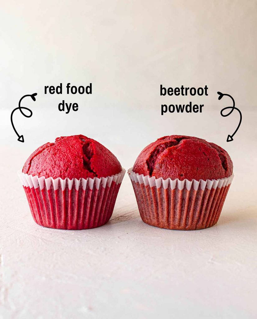 Comparison image of red velvet cupcakes made with red food dye and beetroot powder (no dye).