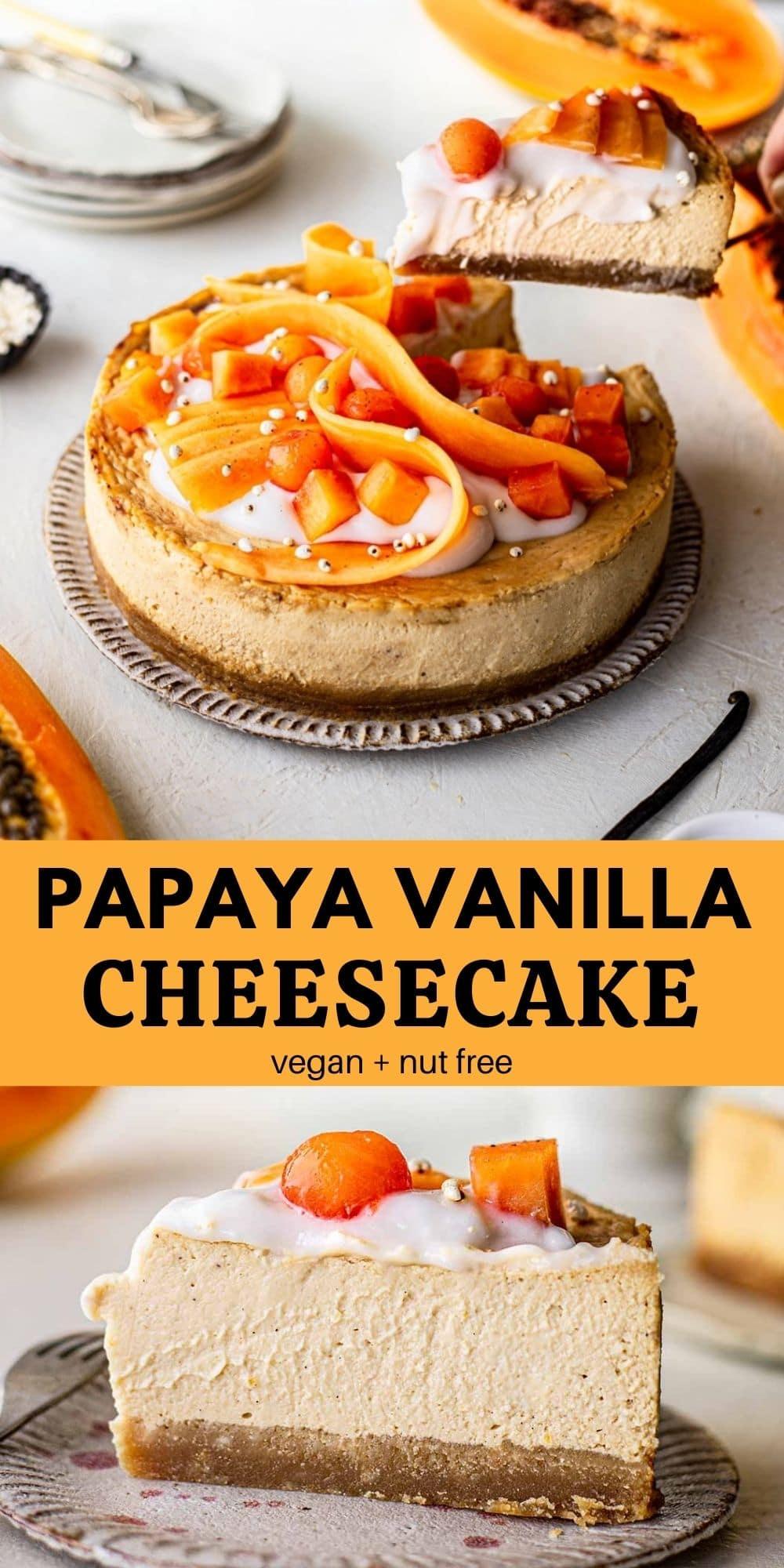 Papaya vanilla cheesecake (vegan)