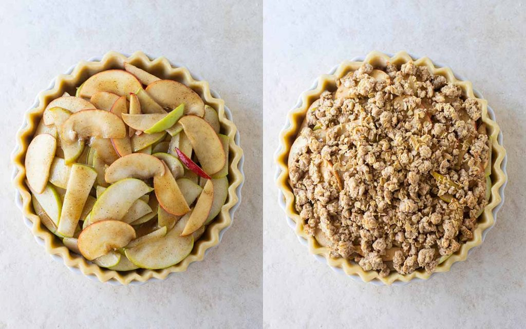 Two image collage showing piled apples in an unbaked pastry in a pie dish and a crumble on top of the apples.