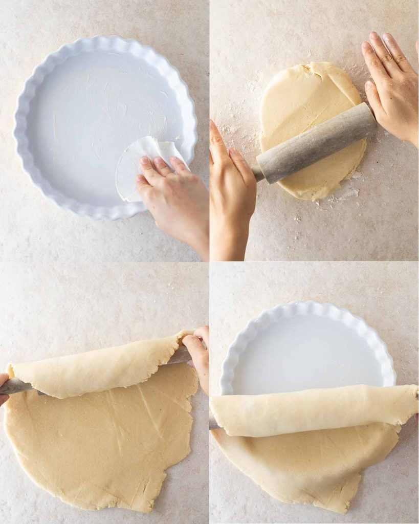 Four image collage showing how to prepare the pie dish and pastry. Images show hand greasing pie dish with parchment paper, hands rolling out buttery shortcrust pastry, pastry rolled around a rolling pin and the pastry being placed on top of the greased pie dish