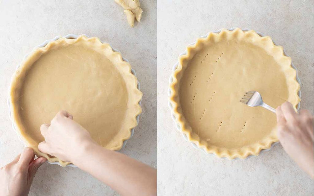 Two image collage. First image shows hands crimping the edges of pastry in a pie dish. Second image shows hand using fork to prick the bottom of the pastry in the pie dish.