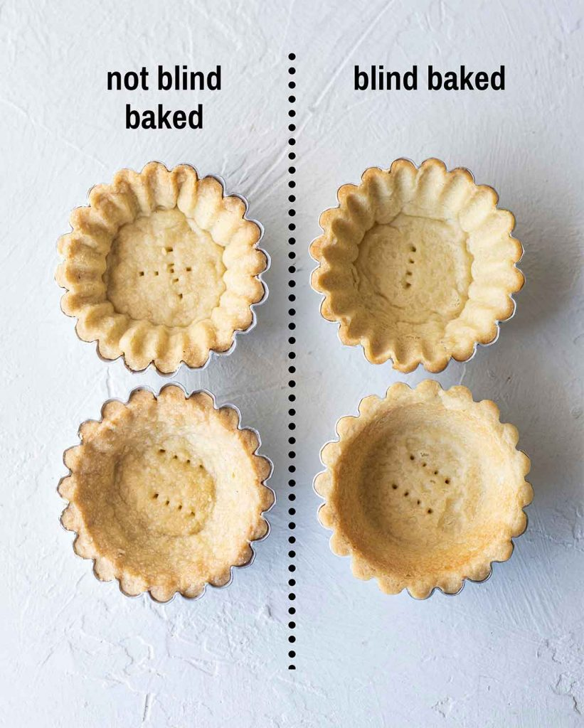 Side by side comparison of pastry shells which have been blind baked and not blind baked. The shells which have not been blind baked are puffy whereas the ones which have been blind baked are compact and smooth