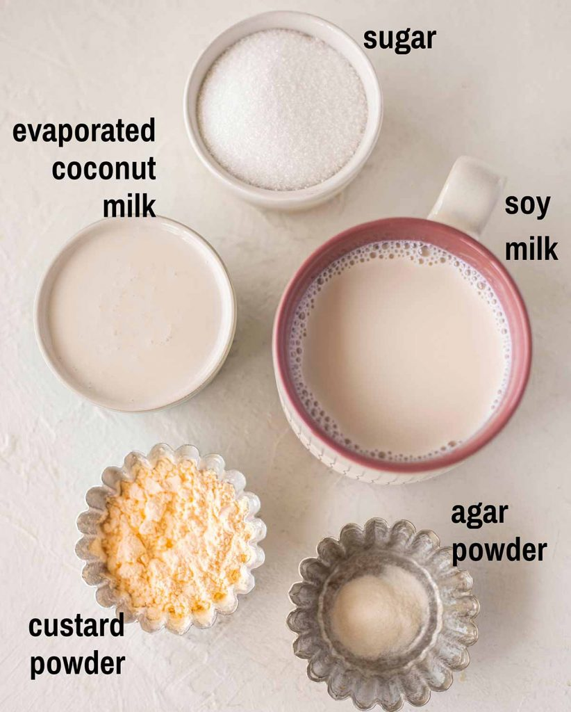 Flatlay of ingredients for the vegan egg custard