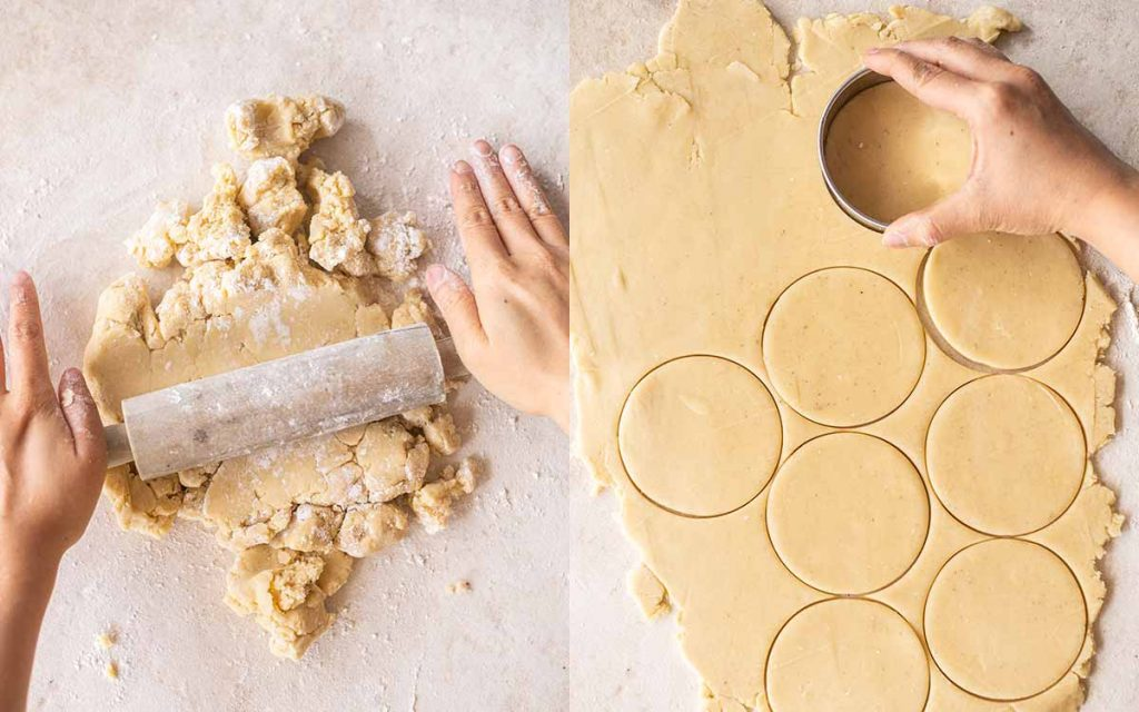 Two image collage. One image showing hands rolling out rough pastry on a floured surface. Second image shows flattened pastry with a hand using a cookie cutter to cut rounds out of the pastry